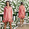 Жатое платье-рубашка в мелкую клетку украшено вышивкой и воланами по подолу, фото 2