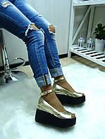 Женские туфли ЗОЛОТО на танкетке открытый носок натуральная кожа
