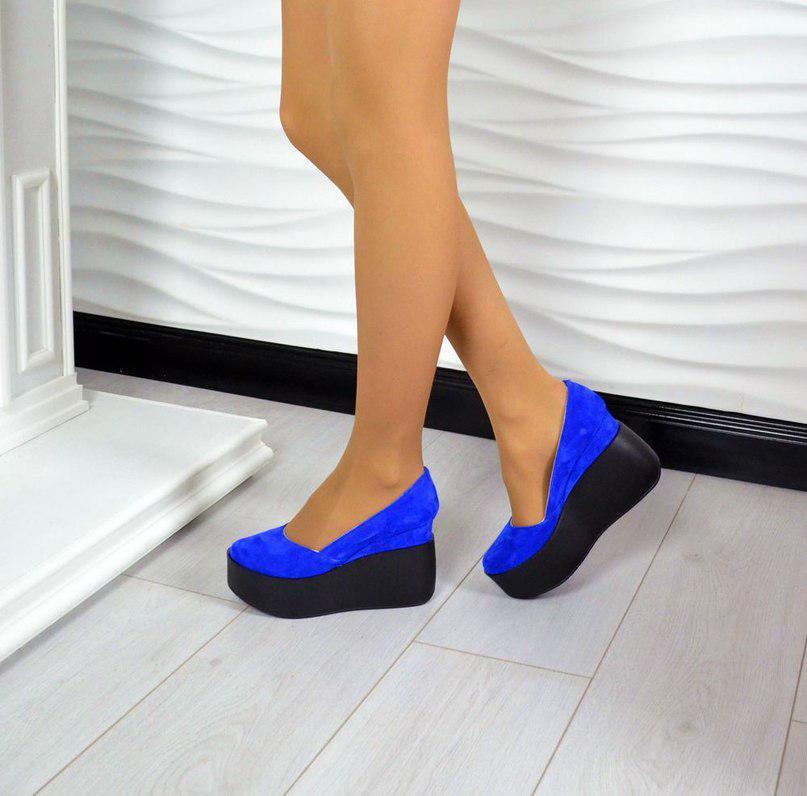 86cefc8e0 Женские СИНИЕ туфли на танкетке натуральная замша -
