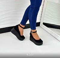 Женские черные туфли на танкетке с ремешком натуральная замша
