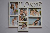 Рамка коллаж K-33 Love 6 фото белая