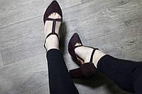Шикарные Туфли-босоножки баклажан на толстом каблуке Итальянская замша