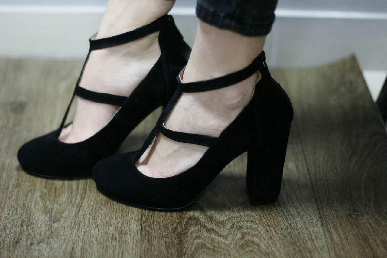 Шикарные черные Туфли-босоножки на толстом каблуке Итальянская замша -