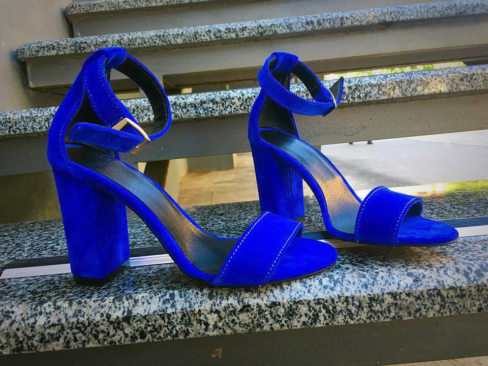 Синие Замшевые Босоножки на Толстом Каблуке — в Категории