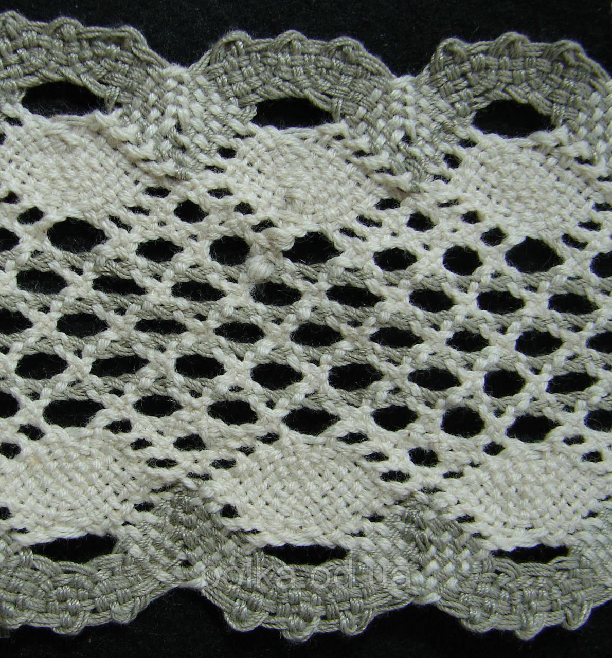 В'язане мереживо -ширина 7.5 см,колір бежевий з хакі(1уп-45м)