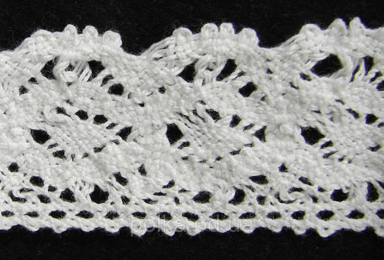 Вязаное кружево -ширина 4см,цвет белый(1уп-45м)