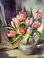 """Картина  маслом на холсте с подрамником """"Тюльпаны"""""""