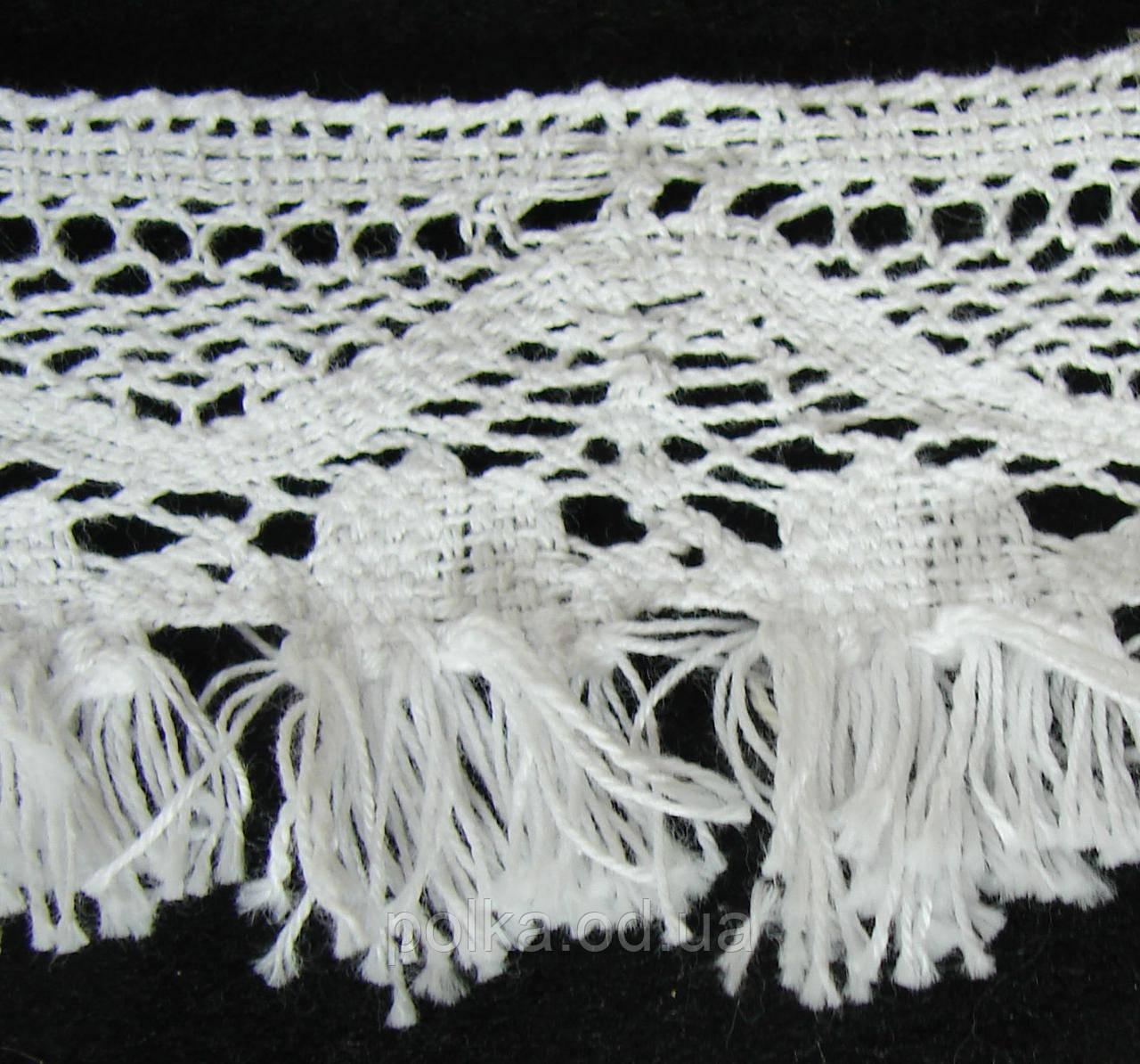 Вязаное кружево с бахромой-ширина 5.5см,цвет белый (1уп-46м)