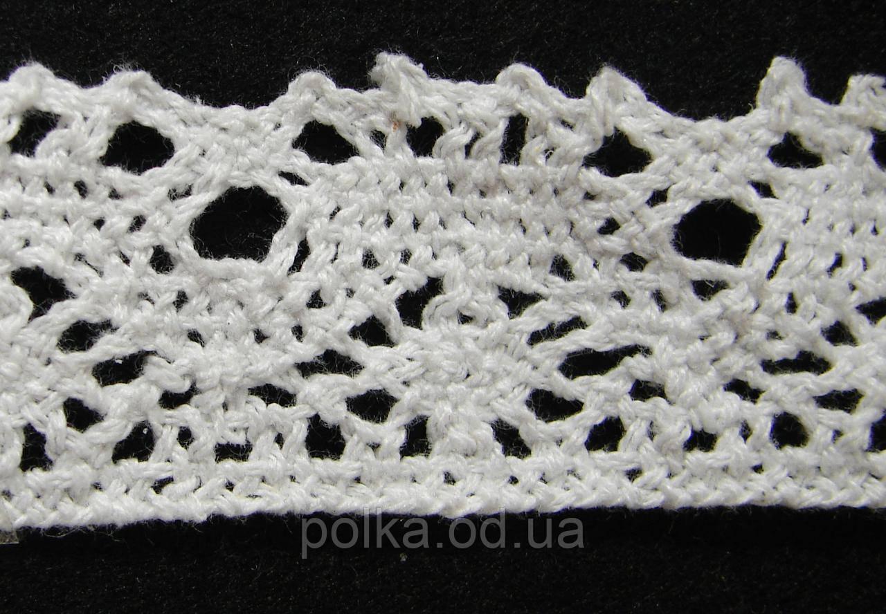 Вязаное кружево -ширина 3.5см,цвет белый (1уп-45м)