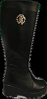 Индивидуальный пошив. Женские демисезонные сапоги, натуральная кожа, высокая тракторная подошва