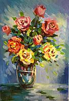 """Картина писаная маслом на холсте с подрамником """"Букет роз"""""""