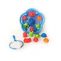 Игра для ванной  328101 для купания, морские животные-7шт, пищалка, сачок, в сетке,28-28-11см