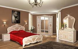 Спальня комплект з ДСП/МДФ 6Д (без матрасу та каркаса) Кармен Нова піно беж лак Світ Меблів