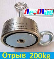 Двухсторонний поисковый магнит ТРИТОН F120*2, 200кг, N42, ООО НЕОМАГНИТ, фото 1