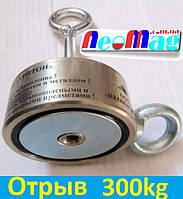 Двухсторонний поисковый магнит ТРИТОН F200*2, 300кг, N42, ООО НЕОМАГНИТ