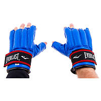 Перчатки шингарты Everlast, кожа, на липучке, S, M, L, синий