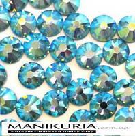 Стразы для ногтей, синтетичесие камни ss10 Aguamarine AB, 1440 шт, аналог Swarovski