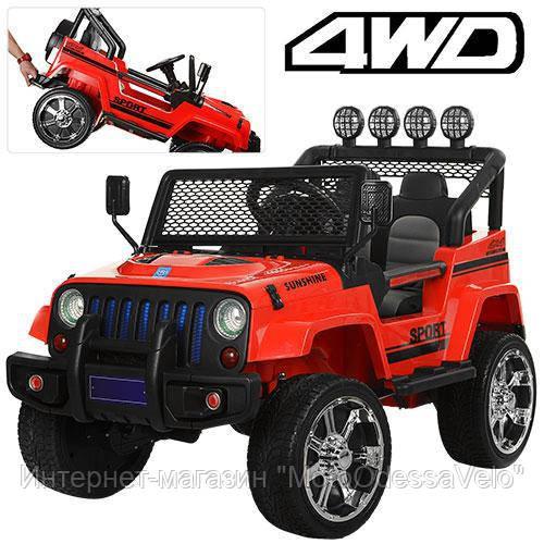 Электромобиль Jeep Wrangler 4WD красный