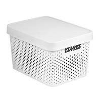 Коробка пластиковая с крышкой Infinity 17 л 360x270x220 мм белая ажурная
