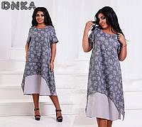 Летнее платье ниже колена больших размеров 50+,из натуральных тканей, с принтом / 4 цвета арт 4532-1