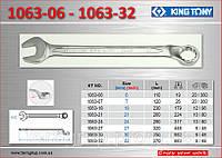 Ключ рожково-накидной с изгибом 45°, 32мм., KING TONY 1063-32