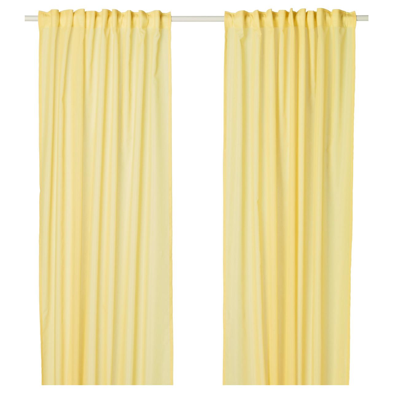 ВИВАН Гардины, 1 пара, желтый, 145x300 см 80389327 ИКЕА, IKEA, VIVAN