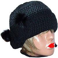 Женская вязаная шапка-ушанка на подкладке объемной крупной вязки
