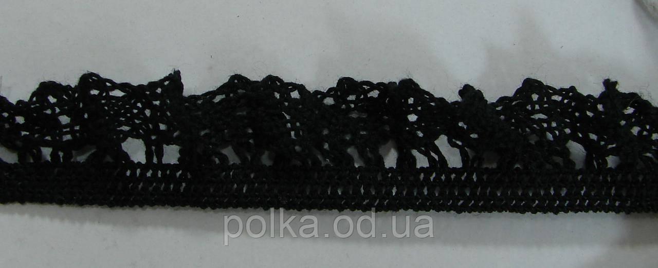 В'язане мереживо на резинці-ширина 2см,колір чорний (1уп-45м)