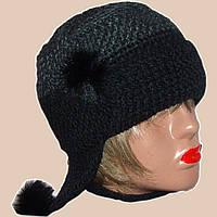 Женская вязаная шапка-ушанка объемной крупной вязки