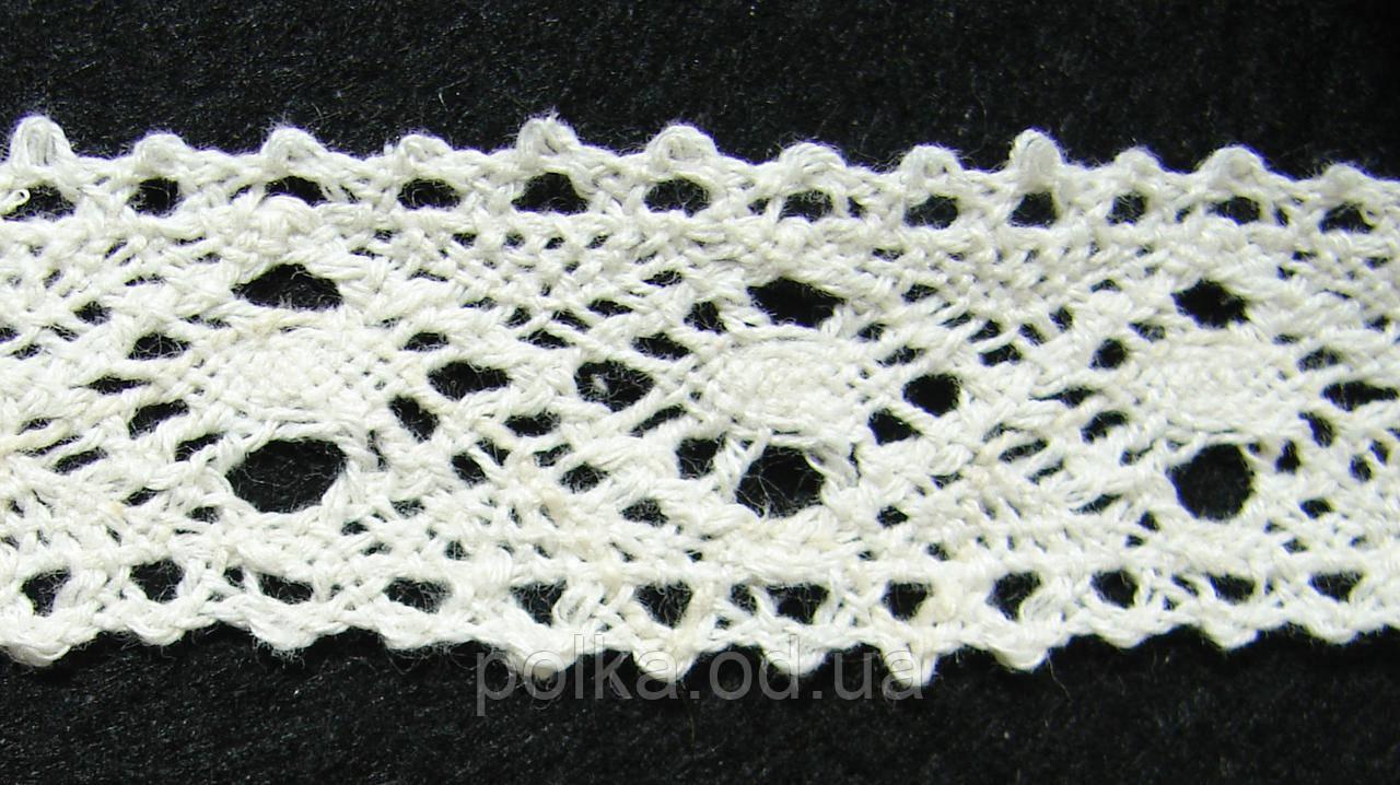 Вязаное кружево-ширина 2.5см,цвет молочный (1уп-45м)