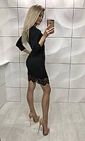 Черное кружевное женское платье р.42-44