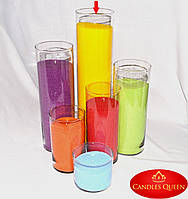Ваза стеклянная цилиндр 480 х 120 мм. Ваза колба для насыпной свечи, ваза подсвечник, фото 1