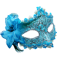 Маска Венеция с цветком голубая