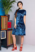Donna-M Платье-миди из бирюзового мраморного велюра 70831, фото 1