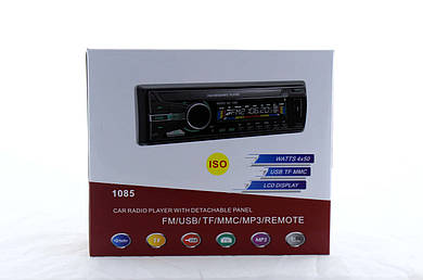 Автомагнитола MP3 1085B съемная панель  + ISO кабель  (20)  в уп. 20шт.
