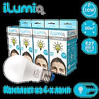 Светодиодная лампа Ilumia 10Вт - 4шт, цоколь Е27, 4000К (нейтральный белый), 1000Лм (007)
