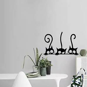 """Наклейка на стіну, вінілові наклейки, прикраси стіни наклейки """"Подглядывающие чорні коти"""" (лист 32см*23см), фото 2"""