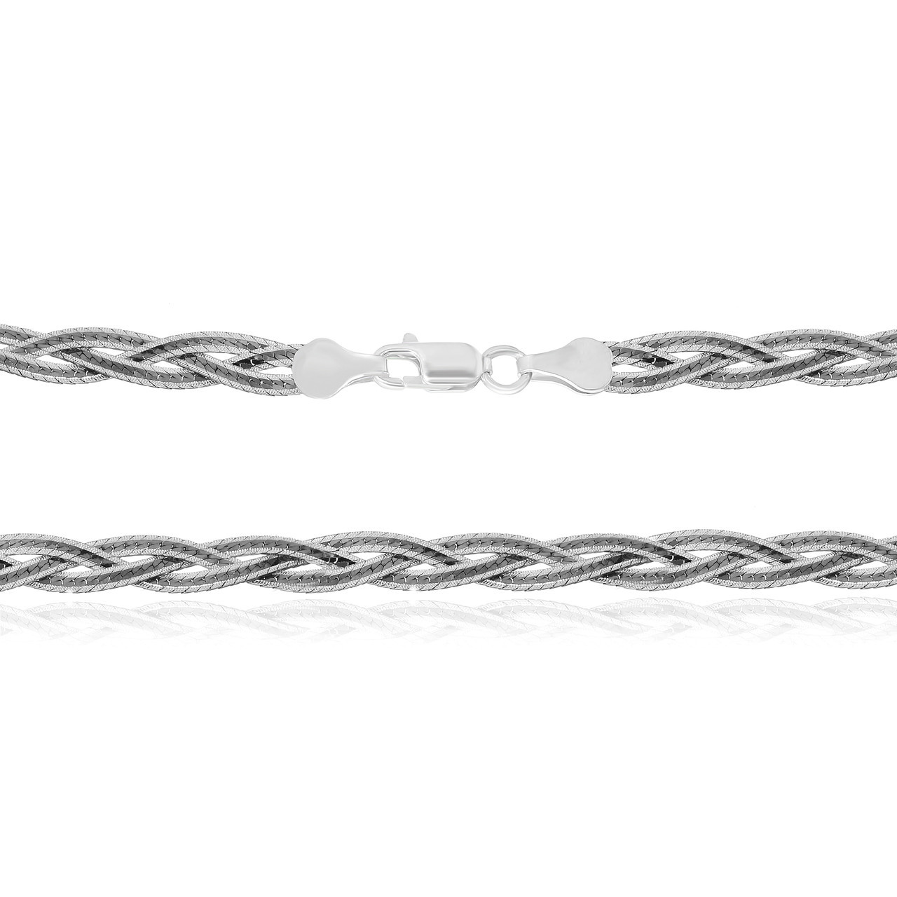 Серебряная цепь оксидированная  - коса 109В 4/45