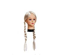 Парик Снегурочки с двумя косами