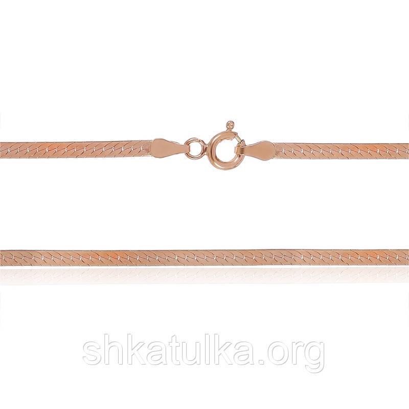 Серебряная цепь позолоченная - плоская лента 825А 3/45