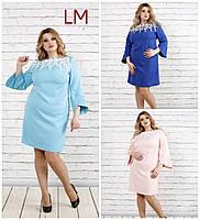 Платье 770760 р 68,70,72,74 женское батал большого размера голубое вечернее с прошвой розовое синее