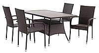 Комплект садовой мебели коричневая, искусственный ротанг  (4 стула и стол 150 см)