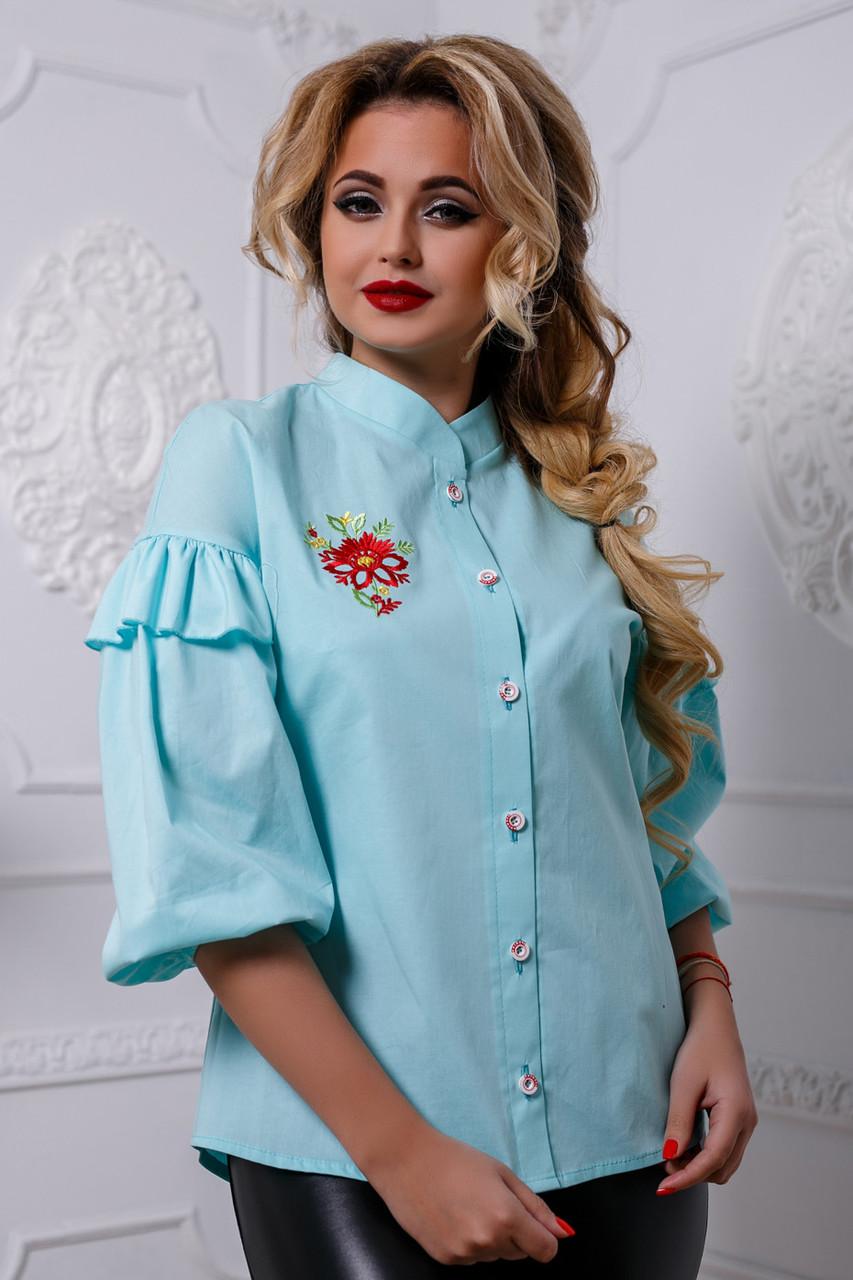 e16244e1544 Женская блузка с вышивкой из стрейч-коттона