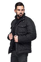 Мужская стеганная деми куртка Марсель черный (48-56)