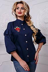 Женская блузка с вышивкой из стрейч-коттона, тёмно-синяя, размеры от 42 до 50