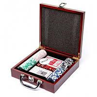 Набор для покера 100 Pc Poker Game Set (в деревянном кейсе)