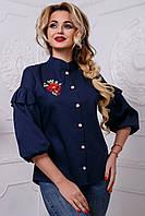 Женская блузка с вышивкой из стрейч-коттона, тёмно-синяя, размер 46