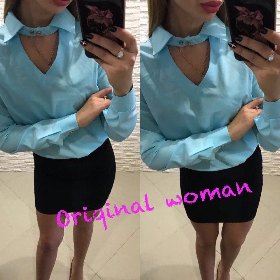 Блуза свободная воротник на пуговице с вырезом