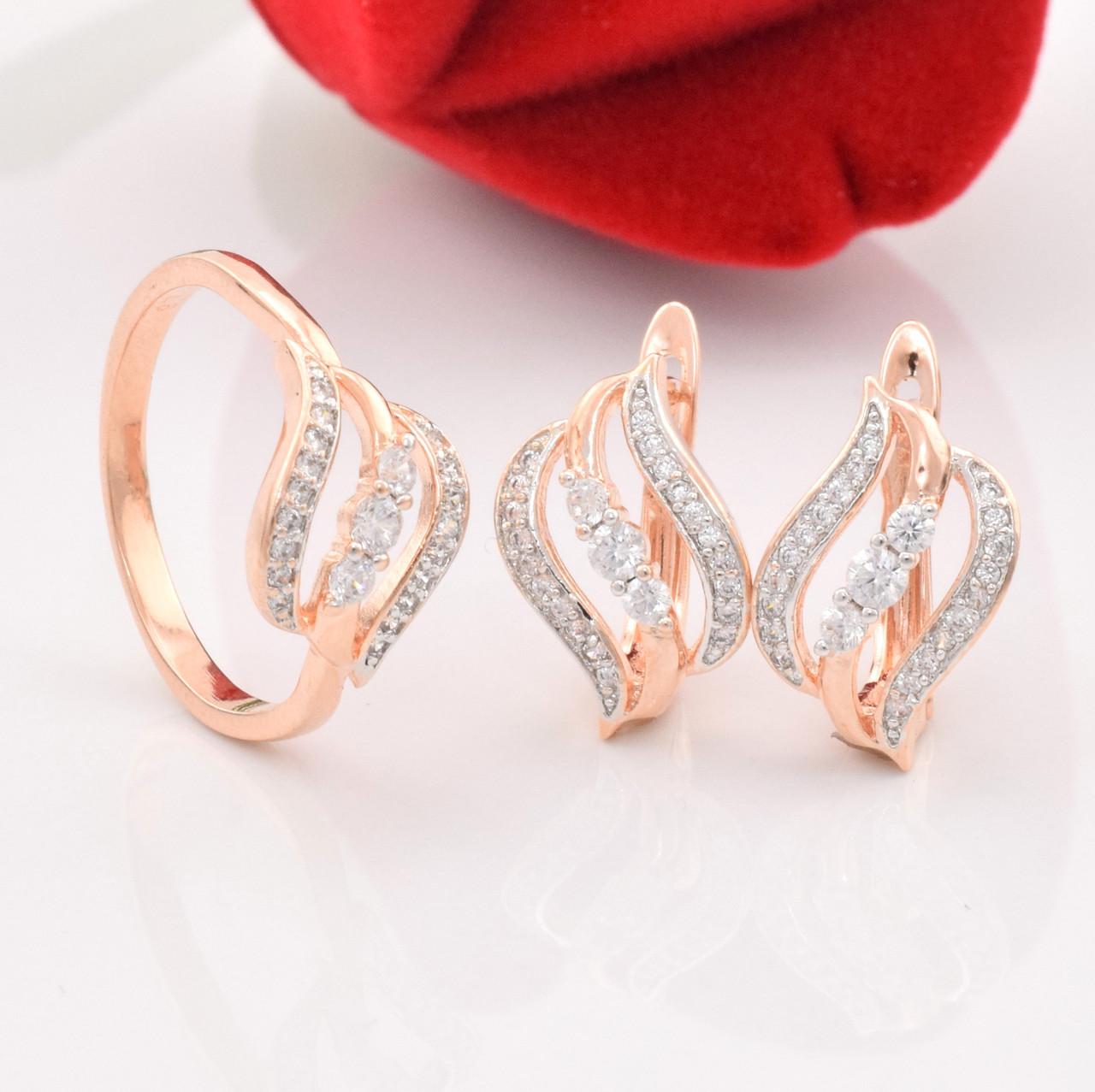 Набор 90039, кольцо размер 16 + серьги 13*11 мм, позолота РО