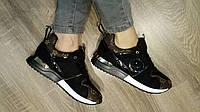 Женские кроссовки черные реплика Луи Витон